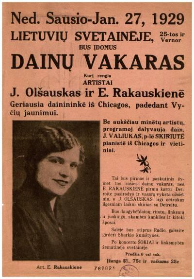 Ned. sausio - Jan. 27, 1929 Lietuvių svetainėje, 25-tos ir Vernor bus įdomus dainų vakaras kurį rengia artistai J. Olšauskas ir E. Rakauskienė ... - 1929
