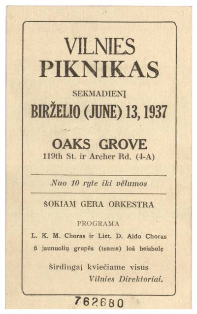 Vilnies piknikas sekmadienį birželio (June) 13, 1937 Oaks Grove ... / Vilnies direktoriai. - 1937