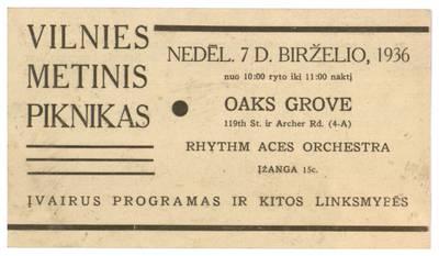 Vilnies metinis piknikas. Nedėl. 7 d. birželio, 1936 ... Oaks Grove ... - 1936