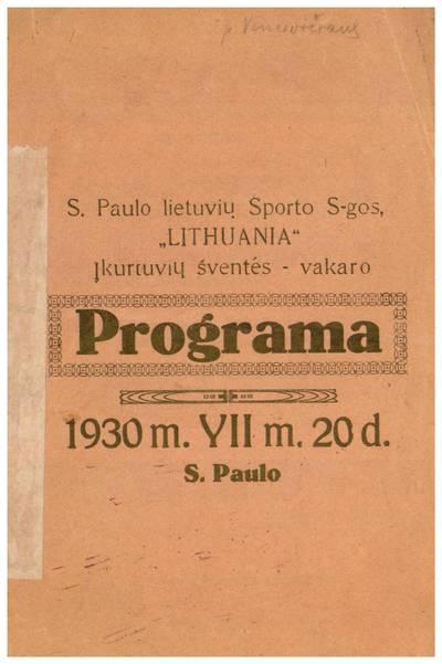 S. Paulo lietuvių sporto s-gos,