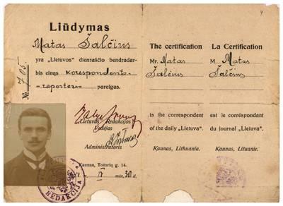 Mato Šalčiaus rankraščių fondas. I : Biografinė medžiaga. – 1907–1940. 4: 4, [Asmens dokumentai]. [Dienraščio