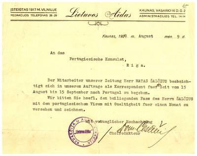 Mato Šalčiaus rankraščių fondas. I : Biografinė medžiaga. - 1907-1940. 5, 45 : [Asmens dokumentai]. [Laikraščio