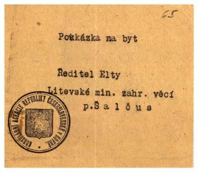 Mato Šalčiaus rankraščių fondas. I : Biografinė medžiaga. - 1907-1940. 5, 65 : [Asmens dokumentai]. [Talonas butui, išduotas
