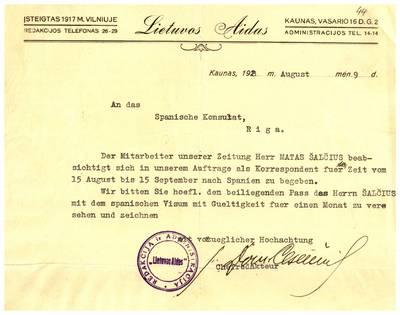 Mato Šalčiaus rankraščių fondas. I : Biografinė medžiaga. - 1907-1940. 5, 44 : [Asmens dokumentai]. [Laikraščio