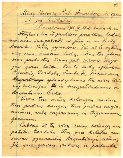 Mato Šalčiaus rankraščių fondas. II : Kūrybinė, darbinė, visuomeninė veikla. – 1906–1958. 131 : 49–51, Sesės ir broliai lietuviai. [Mato Šalčiaus pranešimo