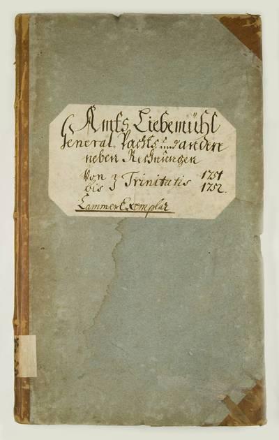 Mažosios Lietuvos istoriniai aktai. I : Karališkųjų valdų metinių pajamų-išlaidų apskaitos knygos. - 1751-1816. 174 : Amts Liebemuhl General Pachts und an den neben Rechnungen von-bis Trinitatis 1751-1752. - 1751-1752