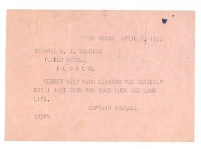 Mato Šalčiaus rankraščių fondas. III : Korespondencija. - 1908-1945. 337 : [Kapitono Andrada laiškas Matui Šalčiui, garlaivis