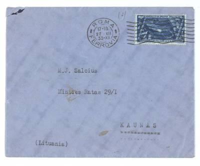 Mato Šalčiaus rankraščių fondas. III : Korespondencija. - 1908-1945. 406, 3 : [Afganistano atstovybės Italijoje pirmojo sekretoriaus M. Jusont (?) laiškai Matui Šalčiui]. [Vokas, kuriame išsiųstas Afganistano atstovybės Italijoje pirmojo sekretoriaus laiškas Matui Šalčiui, Roma, Italija, 1933 m. gruodžio 27 d.] / Matas Šalčius. - 1933.XII.27