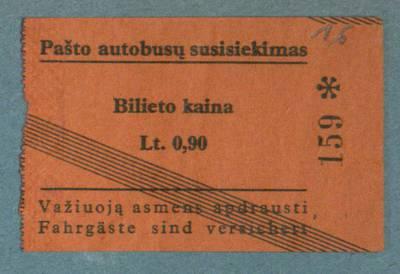 Mato Šalčiaus rankraščių fondas. VI : Buities dokumentai. - 1909-1936. 805 : 16, [Traukinių, autobusų, garlaivio bilietai, moksleivio papiginto bilieto geležinkeliui liudijimas, išduotas Lietuvos turizmo sąjungos ir keletas bilietų į teatrą, parodą]. [Pašto autobusų susisiekimo bilietas]
