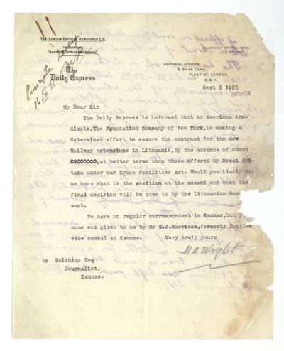 Mato Šalčiaus rankraščių fondas. III : Korespondencija. - 1908-1945. 627, 1 : [