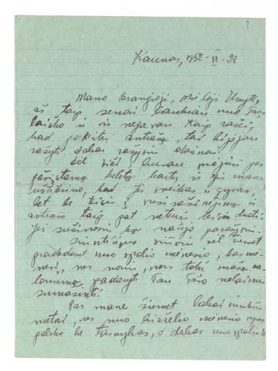 Unės Babickaitės rankraščių fondas. – 1903–1961. 34 : [Juzės Alešūnaitės? laiškai Unei Babickaitei-Graičiūnienei į Stavropolį]. - 1952-1953