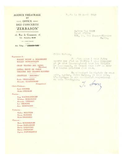 Unės Babickaitės rankraščių fondas. – 1903–1961. 29 : [Teatro agentūros ir koncertų salės