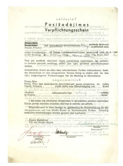 Unės Babickaitės rankraščių fondas. – 1903–1961. 25 : [Unės Babickaitės-Graičiūnienės pasižadėjimai (sutartys) su Kauno Radiofonu dėl dalyvavimo radijo transliacijose]. - 1941.IX.8-X.2