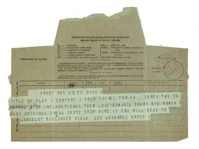 Unės Babickaitės rankraščių fondas. - 1903-1961. 90 : [Lanceloto W. Bellingerio telegramos ir laiškas Unei Baye (Babickaitei)] / Lancelot W. Bellinger. - 1928