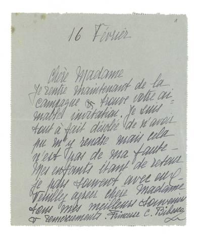 Unės Babickaitės rankraščių fondas. - 1903-1961. 95 : [Laiškai Unei Baye (Babickaitei)] / pas. Princesse C. Bibesco [Elizabeth Charlotte Lucy, Princess Bibesco]. - apie 1931