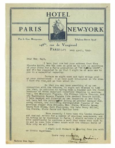 Unės Babickaitės rankraščių fondas. - 1903-1961. 168 : [Irvingo Deakino laiškai Unei Baye (Babickaitei)] / Irving Deakin. - 1929