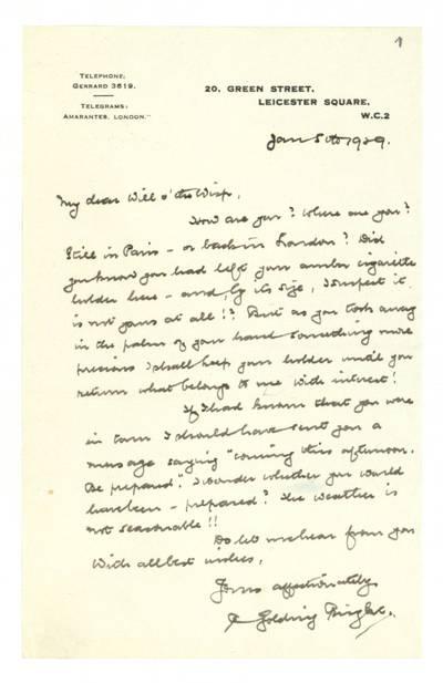 Unės Babickaitės rankraščių fondas. - 1903-1961. 116 : [Rašytojos R. Golding Bright laiškai Unei Baye (Babickaitei) į Paryžių] / pas. R. Golding Bright. - 1929-1930