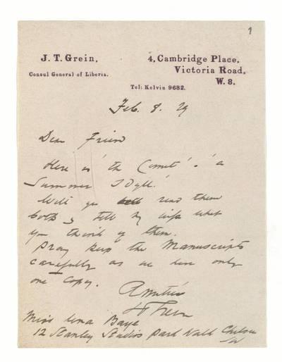Unės Babickaitės rankraščių fondas. – 1903-1961. 268 : [Britų teatro kritiko Jack'o Thomo Greino ir jo žmonos? laiškai ir sveikinimo atvirukas Unei Baye (Babickaitei)] / Jack Thomas Grein. - 1929