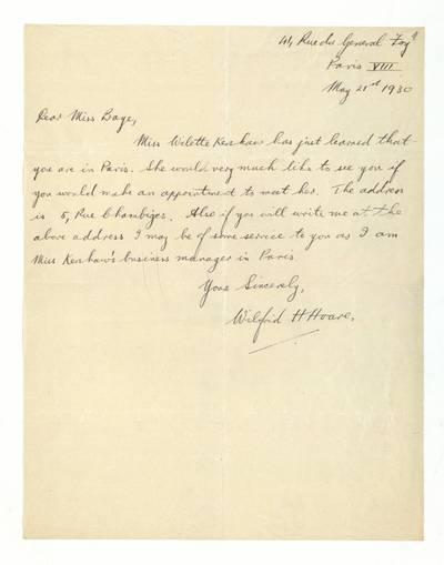 Unės Babickaitės rankraščių fondas. – 1903-1961. 282 : [Aktorės Willette Kershaw padėjėjos Wilfrid H. Hoare laiškai Unei Baye (Babickaitei)] / Wilfrid H. Hoare. - 1930