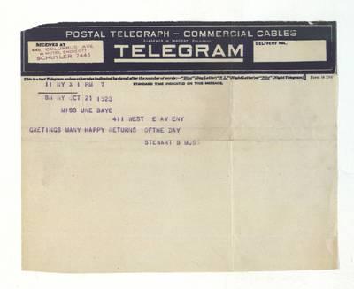 Unės Babickaitės rankraščių fondas. – 1903-1961. 435 : [Laiškas ir telegrama Unei Baye (Babickaitei)] / Stewart B. Moss. - 1923