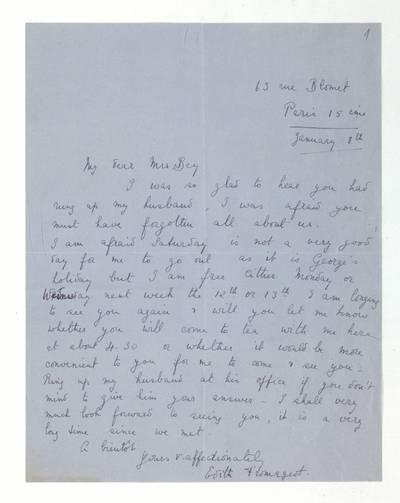 Unės Babickaitės rankraščių fondas. - 1903-1961. 371 : [Laiškai ir dvi vizitinės kortelės Unei Baye (Babickaitei)] / Edith Langstaff–Fromageot. - 1932