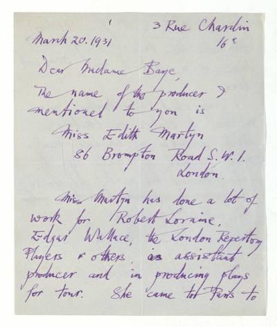 Unės Babickaitės rankraščių fondas. - 1903-1961. 487 : [Laiškas, pranešimas ir vizitinės kortelės Unei Baye (Babickaitei)] / John Pollock. - 1931