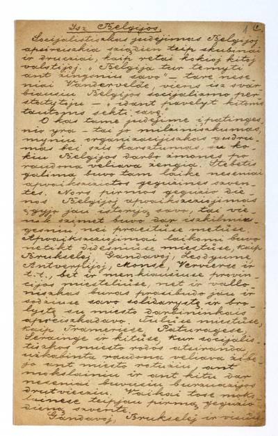 Jono Šliūpo rankraščių fondas. – 1879-1944. 181 : Isz Belgijos / pas. Sarancziukietis. - 1894