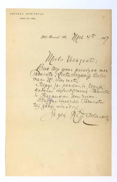 Jono Šliūpo rankraščių fondas. – 1879-1944. 192 : [Laiškai Jonui Šliūpui] / Jonas Žilinskas. - 1897.III.4-1917.III.5