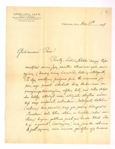 Jono Šliūpo rankraščių fondas. – 1879-1944. 225 : [Laiškai Jonui Šliūpui] / Bronius Balutis. - 1909.III.17-1919.IV.27