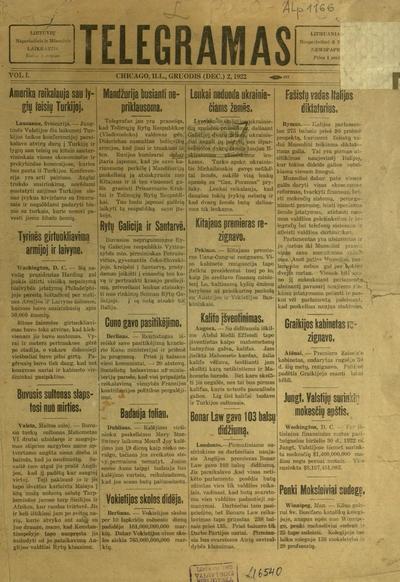 Telegramas / [red.] V.B. Valavičius. - 1922-1923