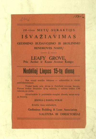 20-ties metų sukakties išvažiavimas Gedimino budavojimo ir skolinimo bendrovēs narių į Leafy Grove ... nedēlioj liepos 15-tą dieną / Gediminas Building & Loan Association valdyba ir direktoriai. - 1934