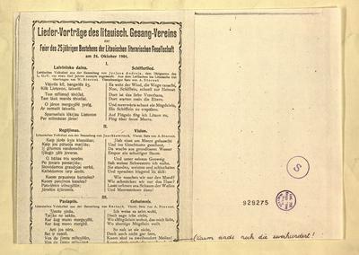 Lieder-Vorträge des litauisch. Gesang-Vereins zur Feier des 25jährigen Bestehens der Litauischen literarischen Gesellschaft am 24. Oktober 1904. - 1904