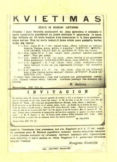 """Seses ir broliai lietuviai. """"Atvykau i jusu koloniją susipazinti su jusu gyvenimu ir reikalais ..."""". - 1936, liep. 27"""