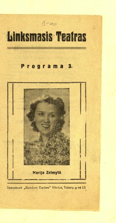 Programa 3. Marija Zeimytė. - 1937-1940