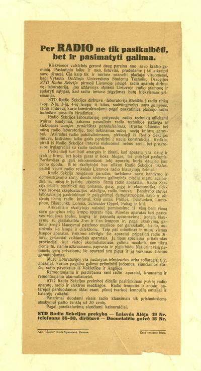 """Per radio ne tik pasikalbėti, bet ir pasimatyti galima. """"Kiekvienos valstybės gerovė daug pareina nuo savo krašto gaminių ..."""". - 1930-1933"""