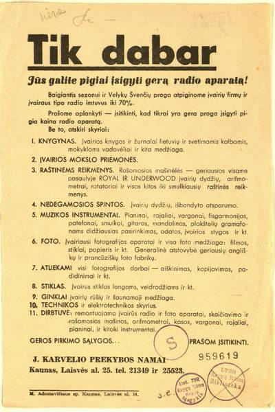 Tik dabar Jūs galite pigiai įsigyti gerą radio aparatą! / J. Karvelio prekybos namai. - 1937–1938