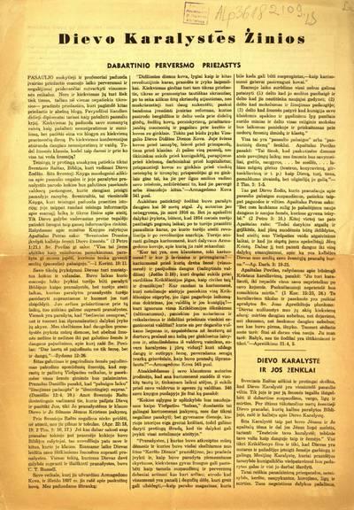 Dievo karalystės žinios. - 1915-1918; 1939-1955