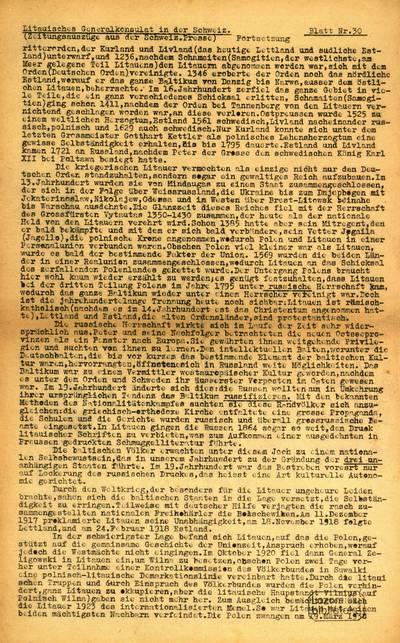Blatt / Litauisches Generalkonsulat in der Schweiz. - 1940-1942