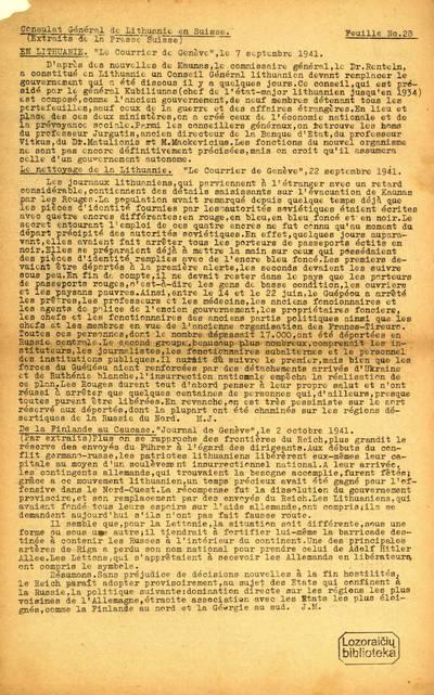 Feuille / Consulat Général de Lithuanie en Suisse. - 1940-1943