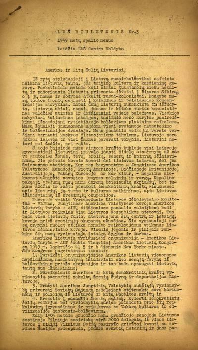 Lietuvių draugijos Švedijoje biuletenis / redakcinė kolegija: dr. P. Gražiškis, V.I. Karas, Girkantas. - 1946-1950