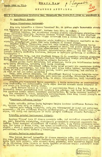 Spaudos apžvalga / redaguojamas Lietuvos Gen. konsulato New Yorke. - 1941-1945