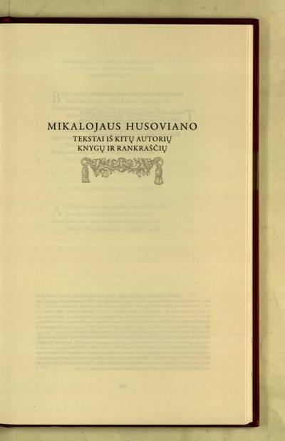 Raštai : Mikalojaus Husoviano tekstai iš kitų autorių knygų ir rankraščių / iš lotynų kalbos vertė Tomas Veteikis