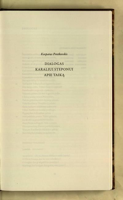 Lietuvos jėzuitų teatras : Dialogas karaliui Steponui apie taiką / Kasparas Pentkovskis
