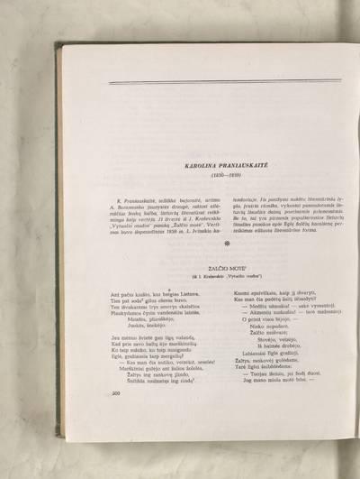 Lietuvių literatūros istorijos chrestomatija : Žalčio motė / Karolina Pronievska