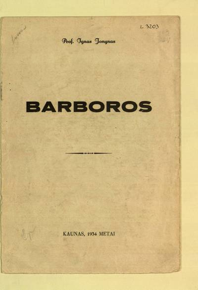 Barboros / Ignas Jonynas. - 1934