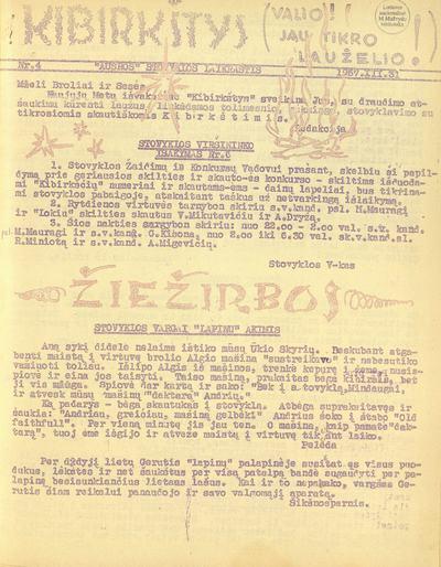 Kibirkštys / Red.: A. Bučinskas, 1957, Nr. 1 (gruod. 28)-1958, Nr. 9 (saus. 4). - 1957-1958