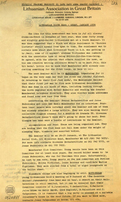 Lithuanian youth news-sheet / Lithuanian Association in Great Britain. - 1978