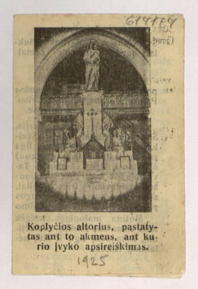 Paveikslas Švenčiausios P. Marijos stebuklais garsus Šidlavoje, Žemaičiuose. - 1925