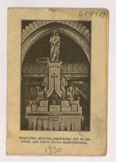Paveikslas Švenčiausios P. Marijos stebūklais garsus Šidlavoje, Žemaičiuose. - 1930