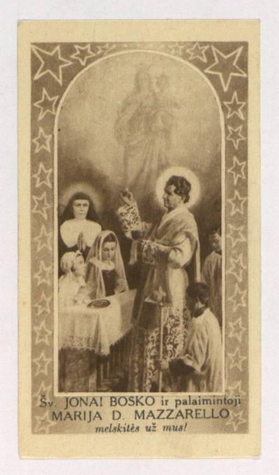 """Maldelė į šventąjį Joną Bosko. """"Dangiškosios pagalbos ištroškęs ..."""". - 1934"""